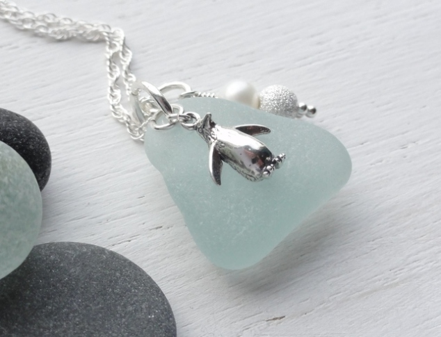 Scottish Sea Glass and Sterling Silver Penguin Necklace - PINGU
