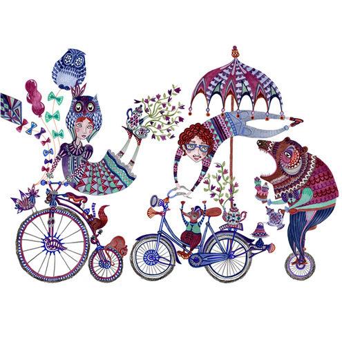 Owl, bear and Bike