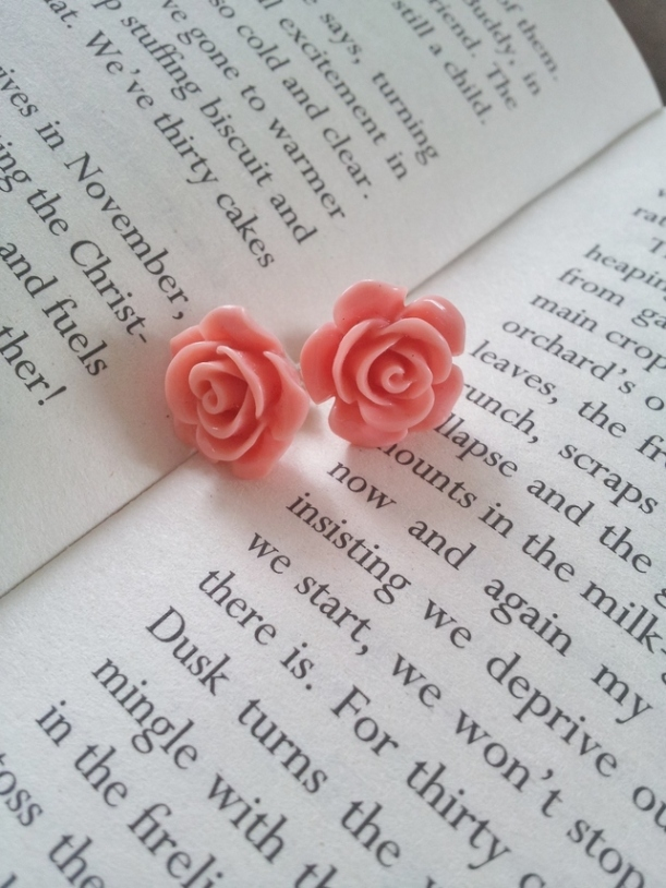 Coral pink rose earrings