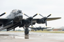 Canadian Lancaster Bomber, 'Vera', arrives at RAF Coningsby, Lincolnshire, UK.